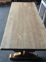 Large French Bleached Oak Trestle Farmhouse Dining Table (6 of 14)
