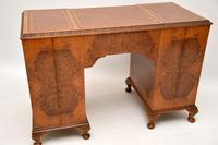 Antique Queen Anne Style Burr Walnut Leather Top Desk (9 of 11)