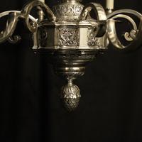 French Silver Gilded Cherub 8 Light Antique Chandelier (9 of 10)
