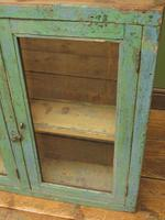 Antique Glazed Wooden Indian Wall Cabinet with Chippy Old Turquoise Paint (3 of 18)