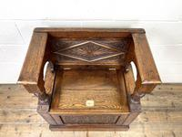 Early 20th Century Antique Carved Oak Hall Seat (5 of 13)