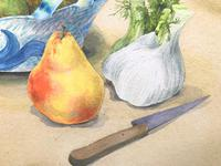 Original Watercolour 'Still-life of Pears, Fennel and Teddy Bear by Colleen Farr (5 of 6)