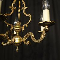French Gilded Brass 5 Light Chandelier (3 of 10)