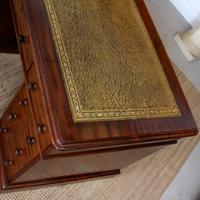 Mahogany Leather Desk 19th Century Victorian Kneehole Twin Pedestal (6 of 14)
