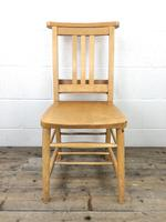 Set of Four Vintage Beech Chapel Chairs (8 of 16)