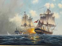 "Seascape Oil Painting Naval Frigate Ships Napoleonic War Sea ""Battle Trafalgar"" (3 of 25)"