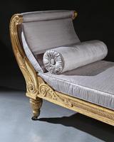 Rare Regency Giltwood & Silk Upholstered Daybed after Morel & Hughes (6 of 13)