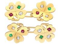 0.24ct Diamond, 0.15ct Ruby & Emerald, 18ct Yellow Gold Clover Cufflinks - Antique c.1910