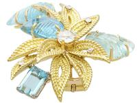 12.5ct Aquamarine & 0.62ct Diamond, 18ct Yellow Gold Brooch - Vintage c.1960 (3 of 9)