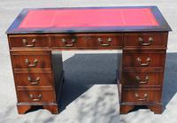 1960s Mahogany Pedestal Desk with Red Leather Top + Key