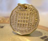 Vintage Pocket Watch Chain Fob 1966 Queen Elizabeth Threepenny 3d Coin Fob (7 of 7)