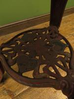Antique Victorian Cast Iron Britannia Pub Table, Bistro table with old paint (4 of 13)