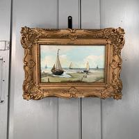 Antique coastal seascape oil painting of fishing boats signed YT (4 of 9)