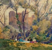 Outstanding 20thc Signed Autumn Landscape Castle Ruin Watercolour Painting (10 of 11)