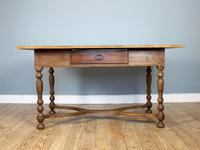 19th Century Single-Drawer Serpentine Stretcher Dining Table (8 of 8)
