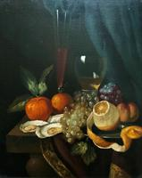 Fine Original 19thc Antique Spanish Fruit Wine & Oyster Still Life Oil Painting (13 of 13)