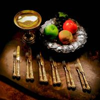 Antique Victorian Solid Silver Gilt Fruit / Dessert Knives & Forks Set of Six in Queens Pattern - Aaron Hadfield 1839 (28 of 32)