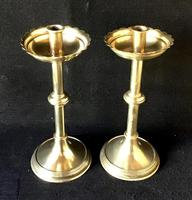 Pair of Arts and Crafts Brass Five Branch  Altar Candelabra (7 of 8)