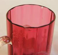 Antique 1900 Mary Gregory Cranberry Glass Mug (6 of 6)