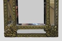 Small 19th Century French Repoussé Brass Cushion Mirror (6 of 7)