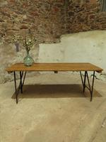 Industrial Vintage Folding Trestle Dining Table with Metal Legs & Reclaimed Top (12 of 17)