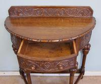 Antique Jacobean Style Carved Oak Demi Lune Side Table (5 of 8)