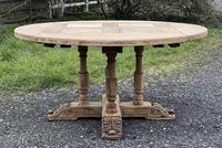 Large Round French Bleached Oak Farmhouse Table with Extensions (13 of 38)