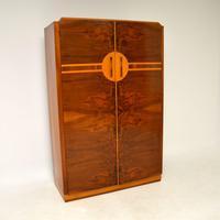 Art Deco Figured Walnut Wardrobe Vintage 1930's (10 of 10)