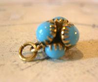 Georgian Pocket Watch Chain Fob 1830s Golden Gilt & Turquoise Dainty Ball Fob (3 of 7)