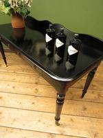 Antique Black Ebonized Console Table with Drawers & Moustache Back (22 of 22)