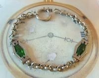 Antique Pocket Watch Chain 1910 Art Nouveau Silver Chrome & Green Glass Albert (3 of 12)