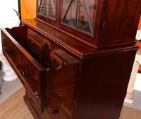 Tall Antique Secretaire Bureau Bookcase Astragal Glazed Mahogany Library Cabinet (10 of 13)