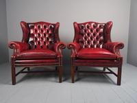 Pair of Red Leather Button Back Wing Chairs (4 of 11)