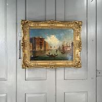 Antique Victorian Oil Painting Study of Venice in Ornate Frame