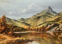Original 20th Century Snowdonia Lake North Wales Welsh Mountain Landscape Oil Painting (5 of 12)