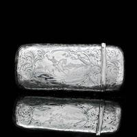 Victorian Solid Silver Cheroot / Cigar Case with a Hand-Engraved Hunting Scene - Alfred Taylor 1853 (6 of 15)