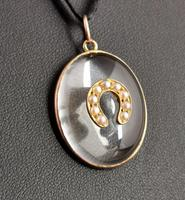 Antique Victorian Rock Crystal Pendant Gold Horseshoe, Split Pearl