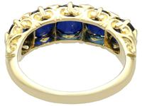 3.15 ct Basaltic Sapphire and Diamond, 15 ct Yellow Gold Five Stone Ring - Antique c.1910 (7 of 9)