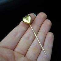 Antique Diamond Love Heart 15K Gold Stick Pin Brooch (10 of 10)