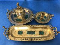 Victorian Gilt Brass Malachite Stationary Desk Set (15 of 17)