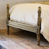 Gilded Louis XVI Matching Pair of Twin Single Caned Rattan Beds (8 of 8)