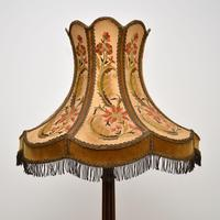 Antique Carved Mahogany Floor Lamp with Needlepoint Shade (3 of 10)