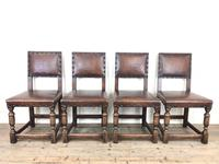 Set of 4 Early 20th Century Leather Dining Chairs (2 of 10)