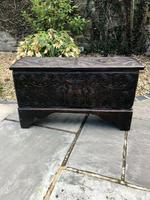 Small Antique Oak Coffer Carved 1660 (2 of 12)
