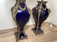 Pair of French Large Rams Heavy Bronze Blue Ceramic Table Lamps (3 of 46)