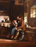 """Oil Painting Frederick Johnston """"The Reading Lesson"""" (5 of 5)"""