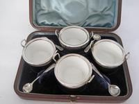Boxed Set of Four Novelty Victorian Pail Shaped Silver & Oak Salts (2 of 7)