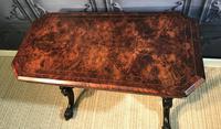 Victorian Burr Walnut Stretcher Table (4 of 9)