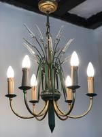 Vintage Art Deco Style Murano & Toleware Wheatsheaf Ceiling Light Chandelier (4 of 12)