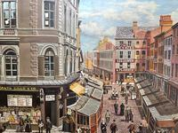 """Figurative Art Oil Painting Manchester Market Place """"The Street Traders"""" by Patrick Burke (5 of 34)"""